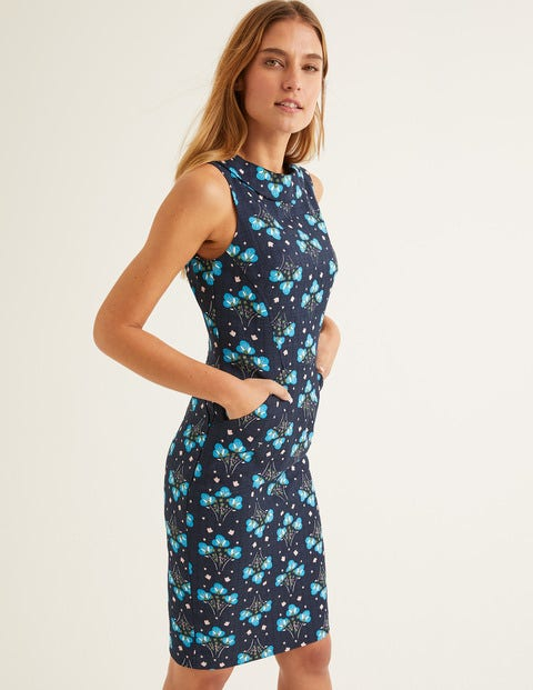 Seam Detail Martha Dress - French Navy, Star Bouquet