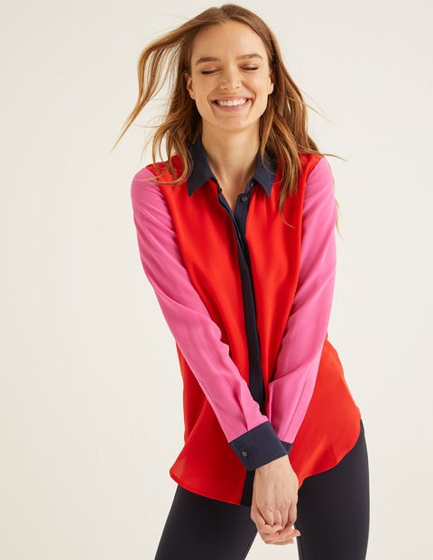 The Silk Shirt - Post Box Red Colour Block