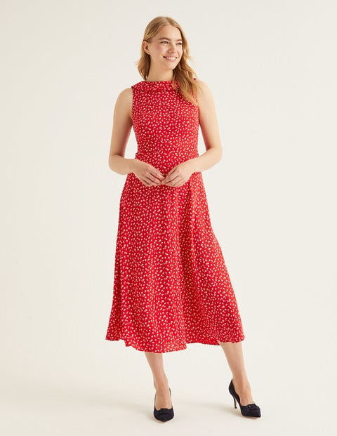 Clarissa Midi Dress - Post Box Red Ditsy Petal