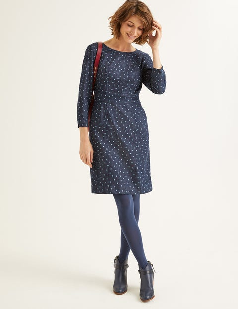 Coraline Dress - Indigo Denim Polka Spot