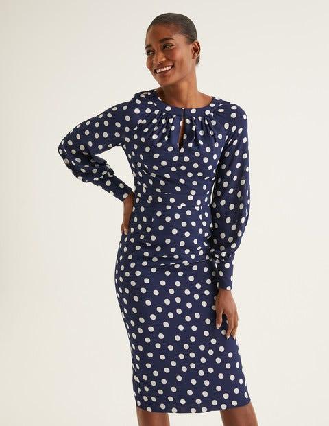 Portia Dress - French Navy Brand Polka Dot