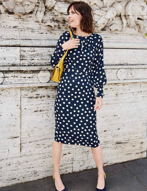 Portia Dress - French Navy Brand Polka Dot