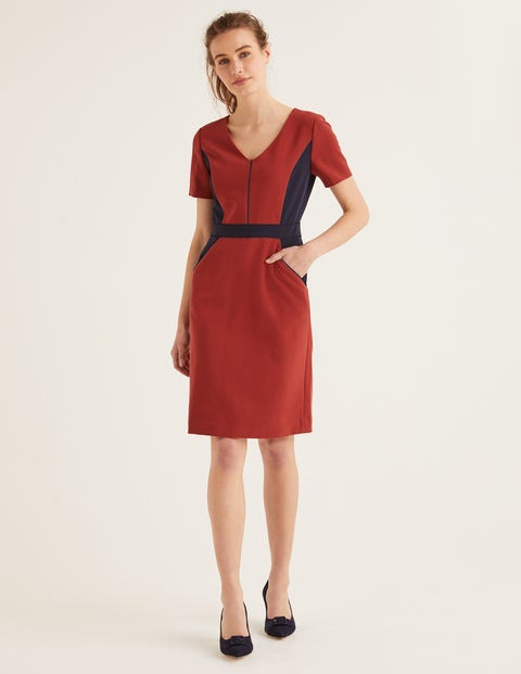 Vicky Colourblock Dress - Conker