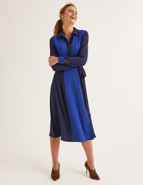 Betty Midi Shirt Dress - French Navy/ Blue Wave