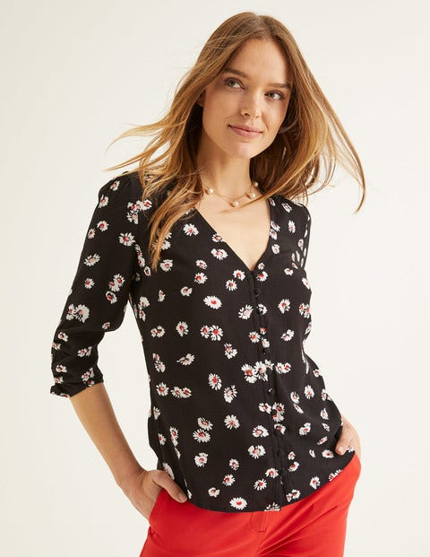Libby Top - Black, Painted Daisy