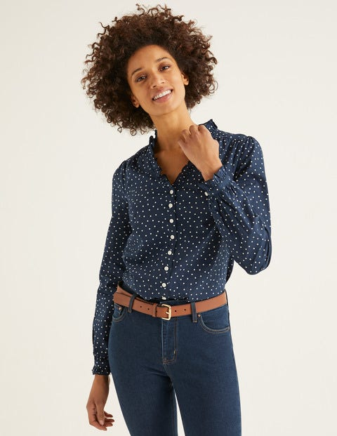 Pippa Blouse - Navy, Polka Dot Medium