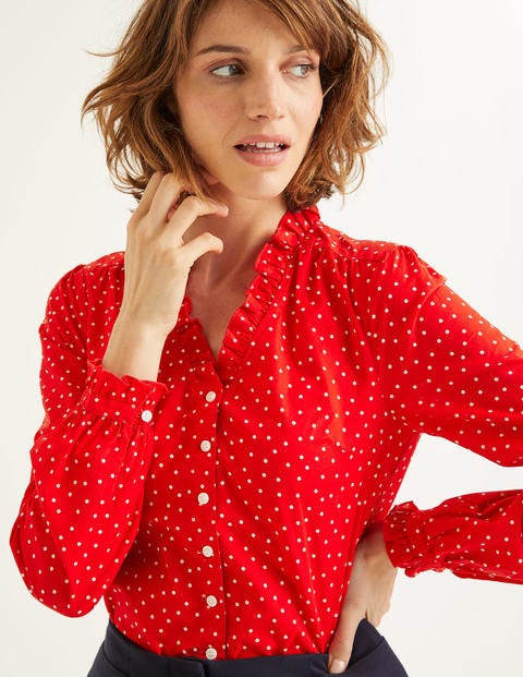 Pippa Blouse - Post Box Red, Polka Dot