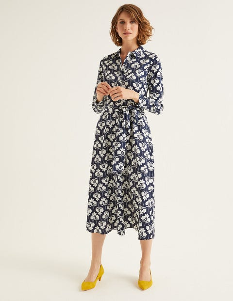 Isodora Midi Shirt Dress - Navy, Petal Sprig