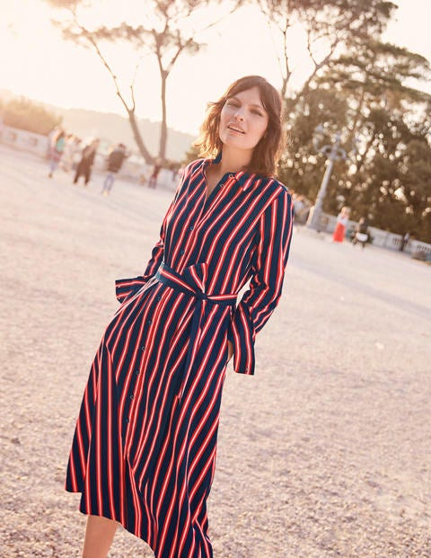 Isodora Midi Shirt Dress - French Navy Stripe
