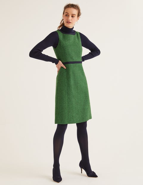 Carrie Tweed Dress - Bright Green Herringbone