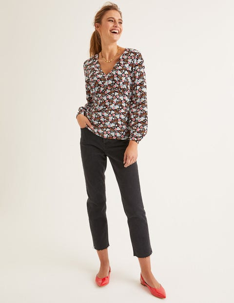 Viola Top - Black, Romantic Bloom