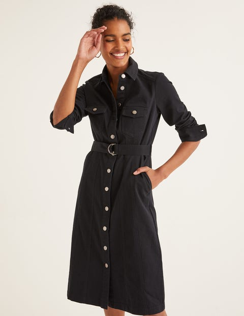 Lena Denim Shirt Dress   Black by Boden