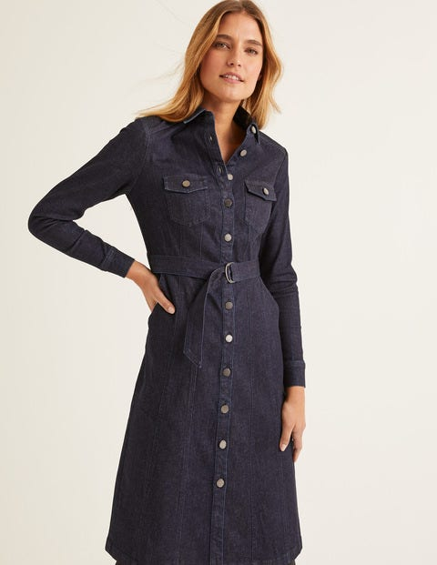 Lena Denim Shirt Dress - Rinse Indigo
