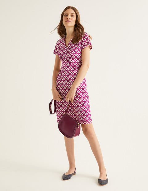 Dana Chino Dress - Vibrant Plum, Petal Sprig