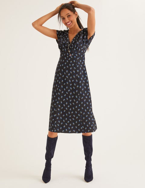Rosemary Dress - Black, Petal Head Scatter