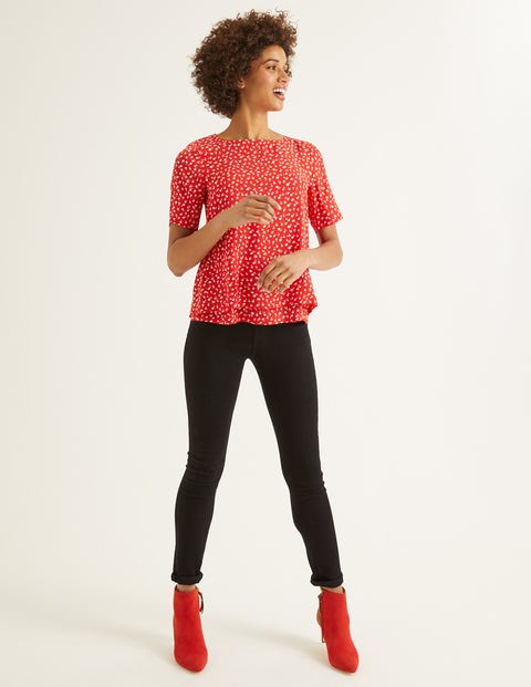 Marisa Top - Post Box Red, Ditsy Petal