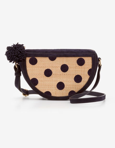 Truro Raffia Embroidered Bag - Navy and Raffia Spot