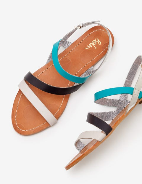 Bronwen Sandals - Ivory and Navy