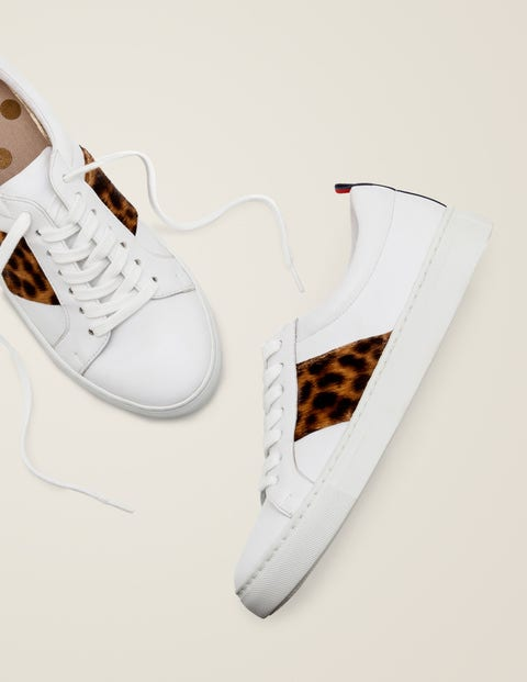 Classic Trainers - White/Tan Leopard
