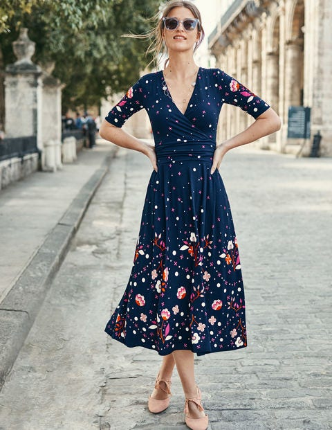 Kassidy Jersey Midi Dress - Navy Blossom Spot