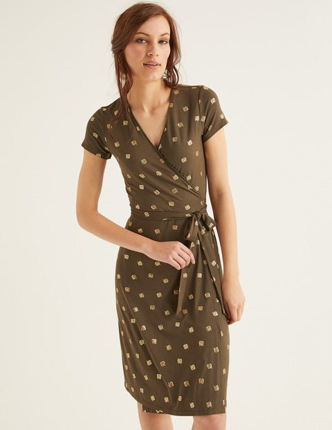 Summer Wrap Dress   Classic Khaki, Scattered Petal by Boden