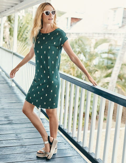 Paulina Jersey Dress - Woodland Green/Gold Pineapple