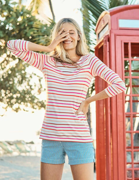 Long Sleeve Breton   Rouge/Chalky Pink Multi by Boden
