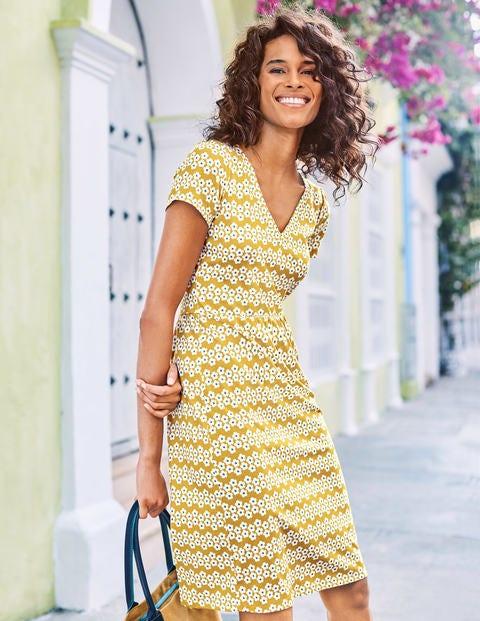 Penelope Jersey Dress - Dijon Daisy Stripe