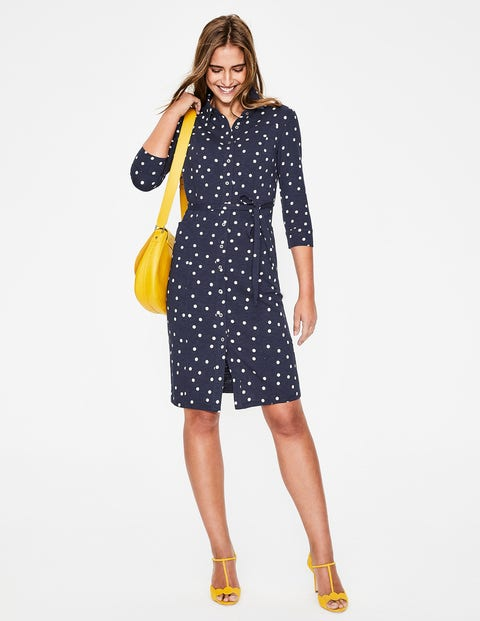 Tara Jersey Shirt Dress - Navy Brand Dot
