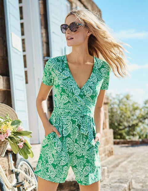 Caroline Jersey Playsuit - Highland Green Paisley