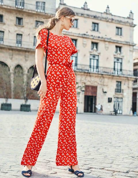 Camille Ponte-Jumpsuit - Knalliges Rot, Gänseblümchenwolken