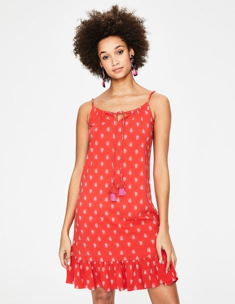 Sophia Jersey Dress - Red Pop Palm Stamp