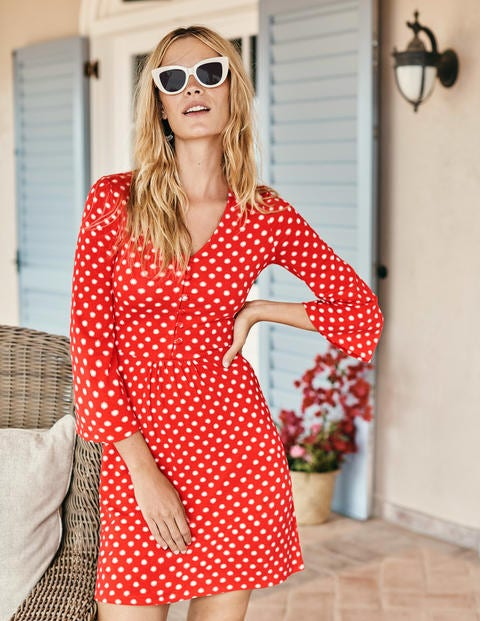 Scarlett Jersey Tunic - Red Pop Star Spot