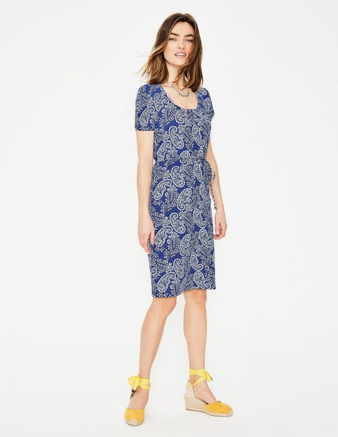 Elspeth Jersey Dress - Lapis Mexican Paisley