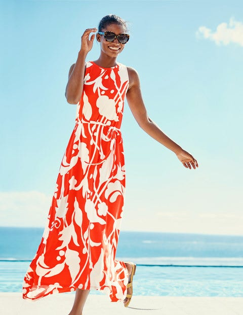 Delphine Jersey Maxi Dress - Red Pop Jungle Vine