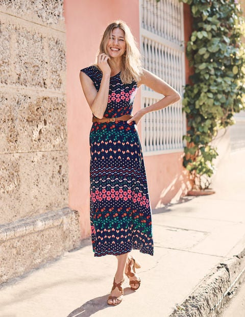 Polly Jersey Midi Dress - Navy Floral Field
