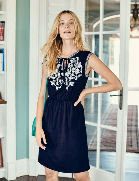 Catriona Embroidered Dress - Navy