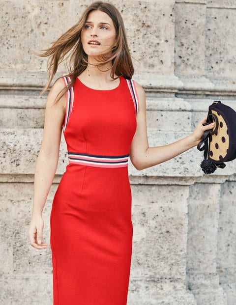 Zada Ottoman Dress - Red Pop
