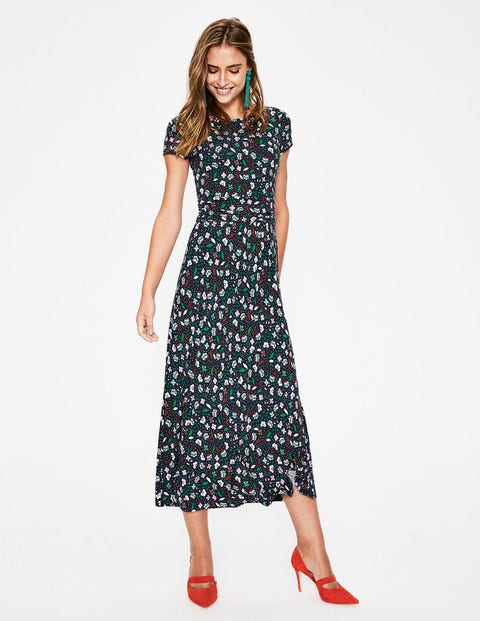 Alda Jersey Midi Dress - Navy Blossom Vine