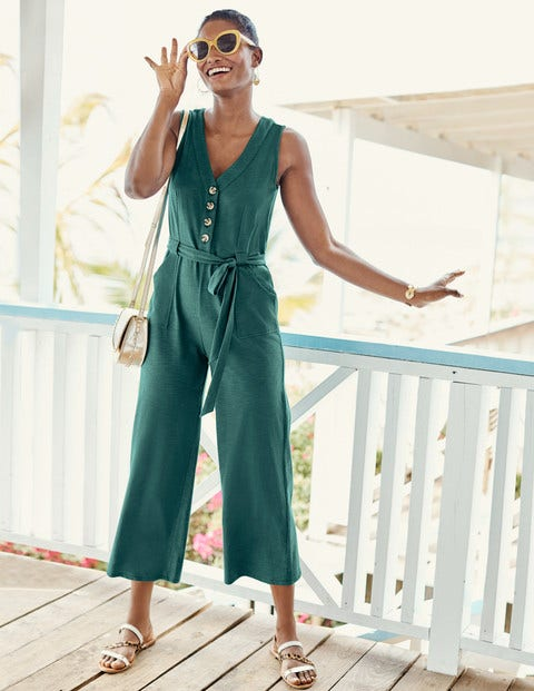 Bryony Jersey Jumpsuit - Woodland Green