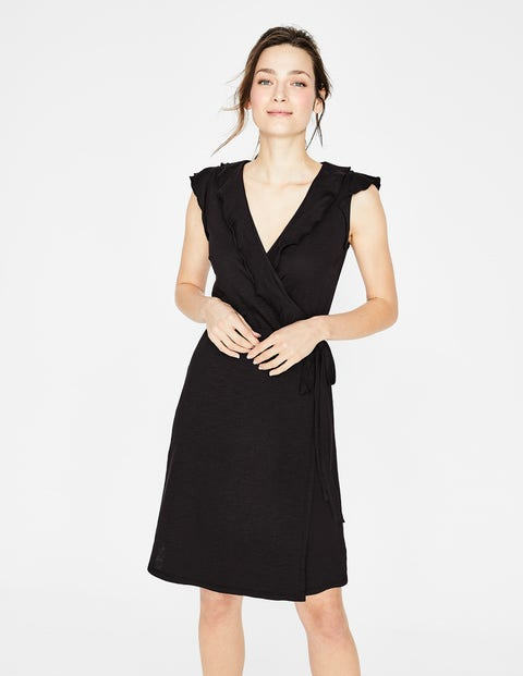 Jodie Jersey Wrap Dress - Black