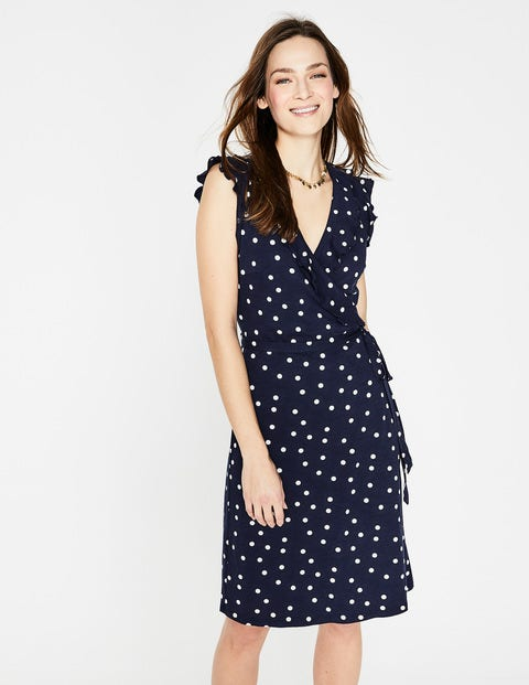 Jodie Jersey Wrap Dress - Navy, Brand Dot