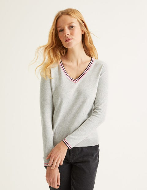 Elina V-Neck Jumper - Grey Melange/Multi Tipping