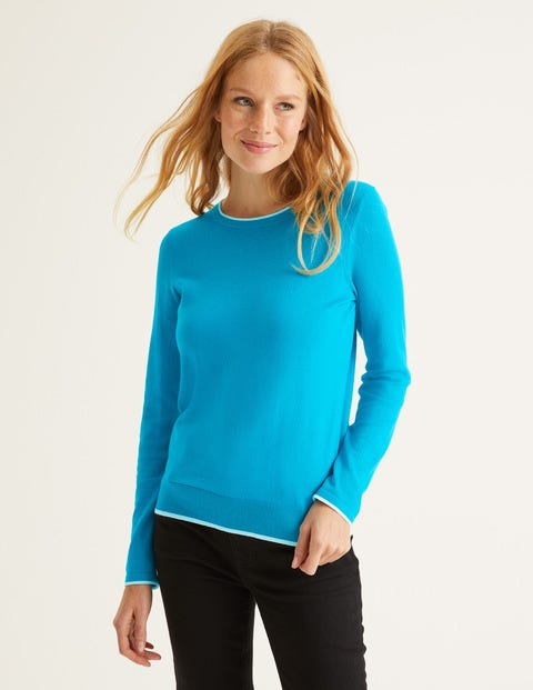 Elina Sweater - Blue Lagoon/Ivory Tipping