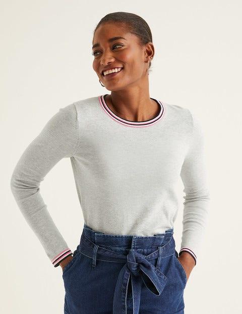 Elina Sweater - Grey Melange/Multi Tipping