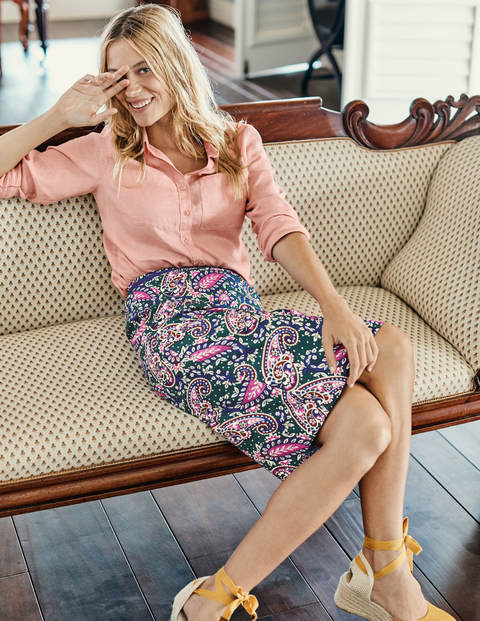 Modern Pencil Skirt - Sap Green, Floral Bouquet