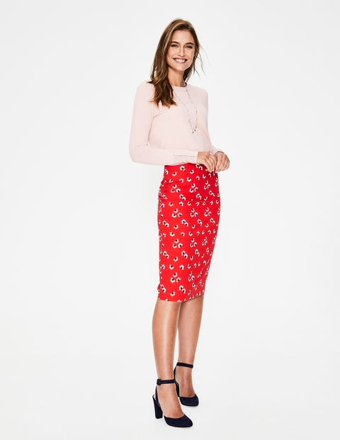 Richmond Pencil Skirt - Red Pop, Daisy Cloud