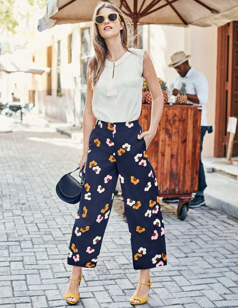 Exeter Wide Leg Culottes - Navy, Daisy Cloud