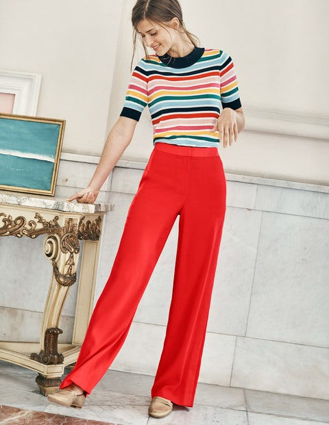 Exeter Wide Leg Trousers - Red Pop