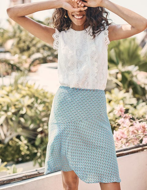Virginia Skirt - Heron Blue, Rainbow Dot Small